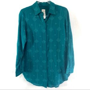 Chico's Tapestry Teal Tonal Tunic Shirt 🌵